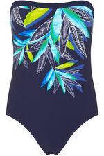 Leaf Print Bandeau Swimsuit With Detachable Straps