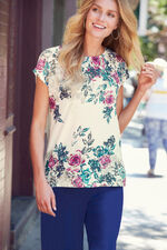 Floral Woven Front Jersey Back Top