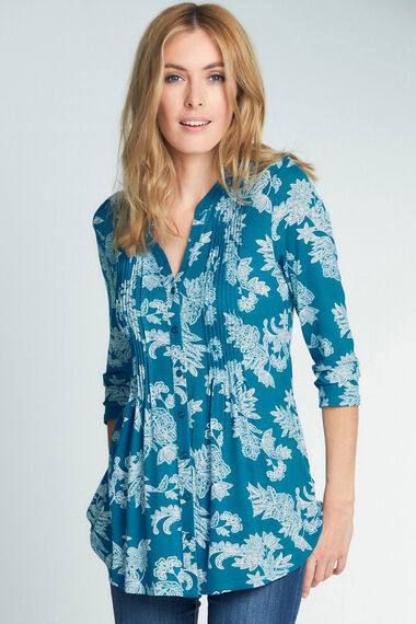 Printed Pintuck Jersey Blouse