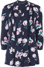 Tulip Print Pintuck Detail Jersey Top