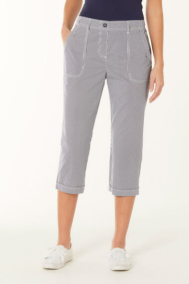 Stripe Cotton Cropped Trousers