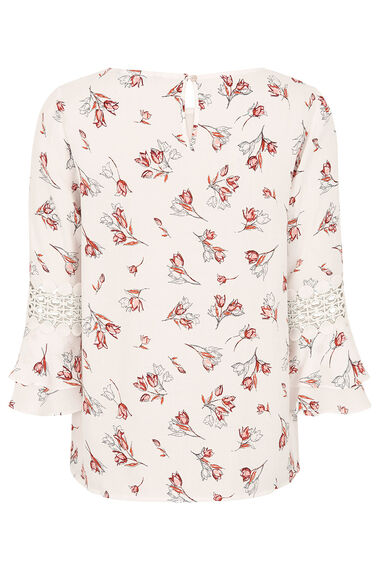 Tulip Print Fluted Sleeve Blouse With Lace Trim
