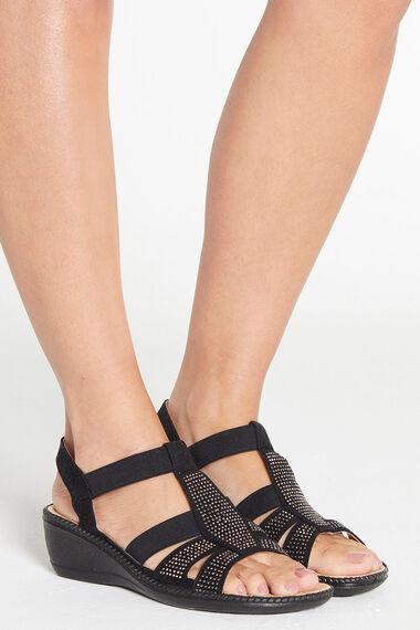 Cushion Walk Elasticated Studded Wedge Sandal