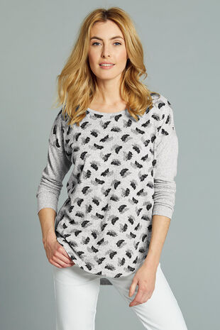Stella Morgan Fern Leaf Print Soft Touch Sweater