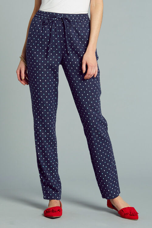 Diamond Print Linen Blend Tapered Trousers