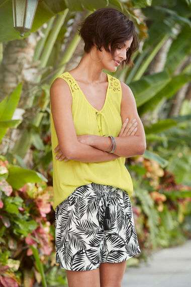 Lace Back Crinkle Vest Top