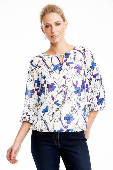 Floral Print Bubble Hem Blouse
