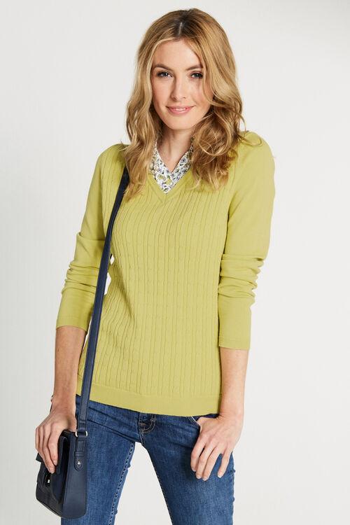 Mock Shirt Cable Knit Jumper