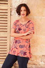 Batik Print Short Sleeve Tunic With Necklace
