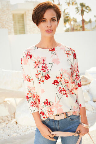 3/4 Sleeve Floral Printed Jumper