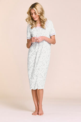 Floral Mesh Trim Nightdress