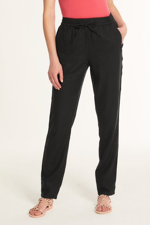 Linen Blend Tapered Trousers