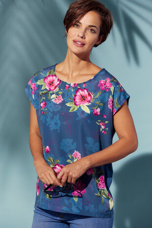 Rose Floral Print Woven Front T-Shirt
