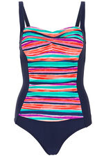 Stripe Print Ruched Front Swimsuit
