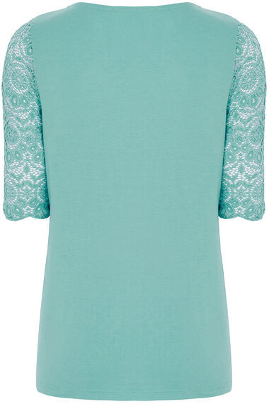 Half Sleeve Lace Top With Jersey Back