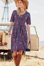 Pleat Detail Printed Dress