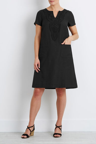 Crotchet Detail Linen Blend Shift Dress