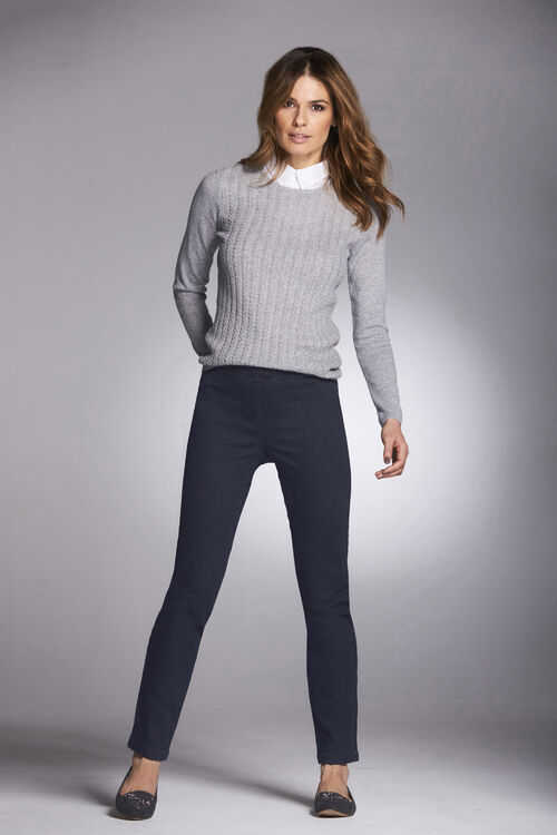 Cable Sweater with Mock Shirt Insert