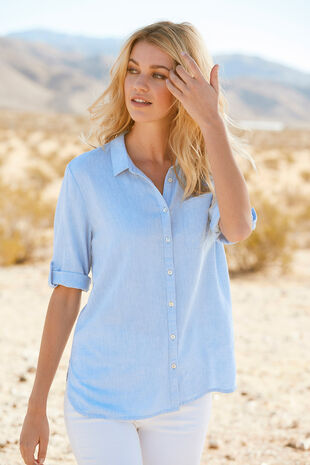 Plain Linen Blend Shirt