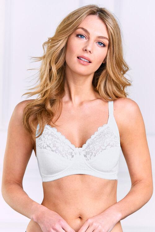 Cotton Lace Trim Non Wired Control Bra