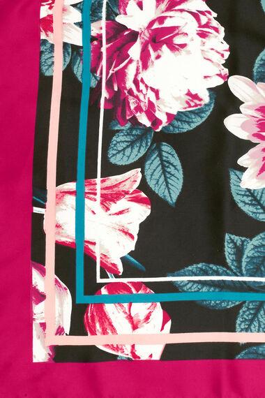 Floral Printed Border Satin Scarf