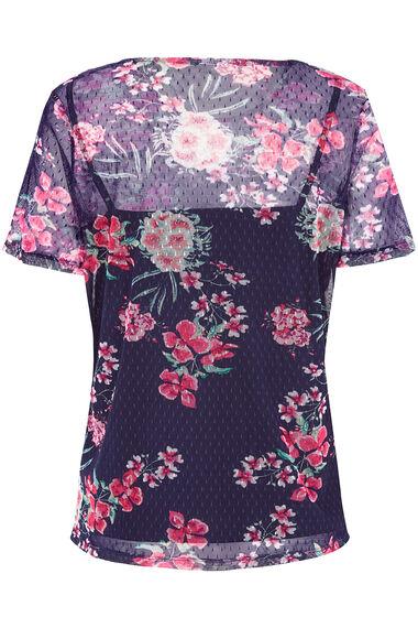 Floral Printed Short Sleeve Mesh Top