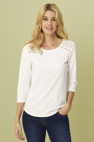 Textured Jersey 3/4 Sleeve Top with Crochet Insert