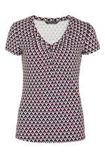 Gathered V-Neck Printed Jersey Top