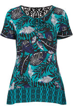 Lace Detail Palm Print Jersey Tunic
