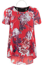 Floral Print Double Layer With Necklace