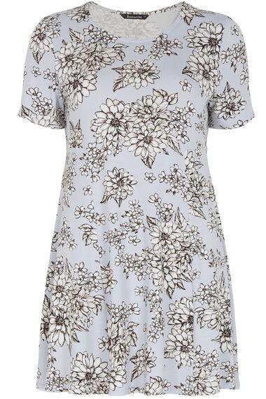 Floral Printed Pintuck Jersey Shirt