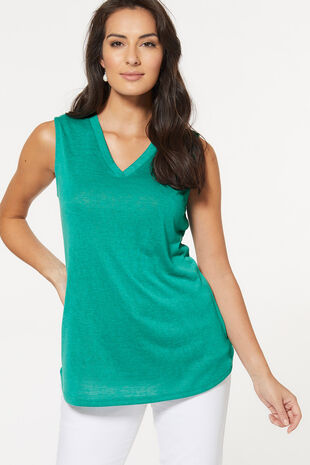 Sleeveless V Neck Top