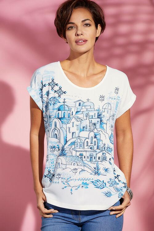 Scenes of Santorini Woven Front T-Shirt