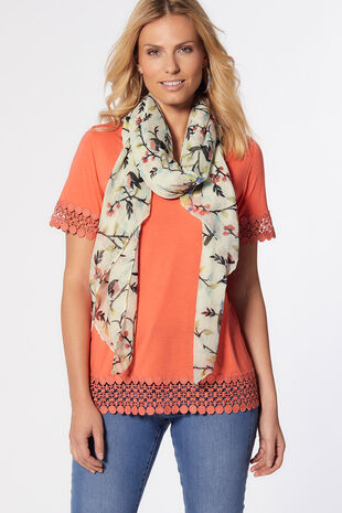 Totes Garden and Bird Printed Scarf