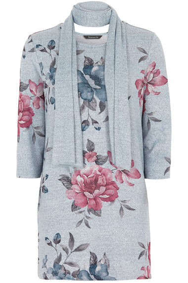 Printed Soft Touch Tunic with Scarf