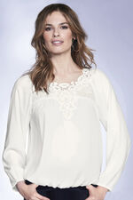 Lace Trim Embroidered Blouse