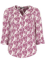 Printed Roll Sleeve Blouse
