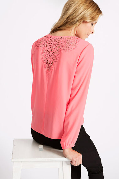 Wrap Front Top With Lace Back