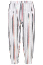 Textured Stripe Linen Cropped Trousers