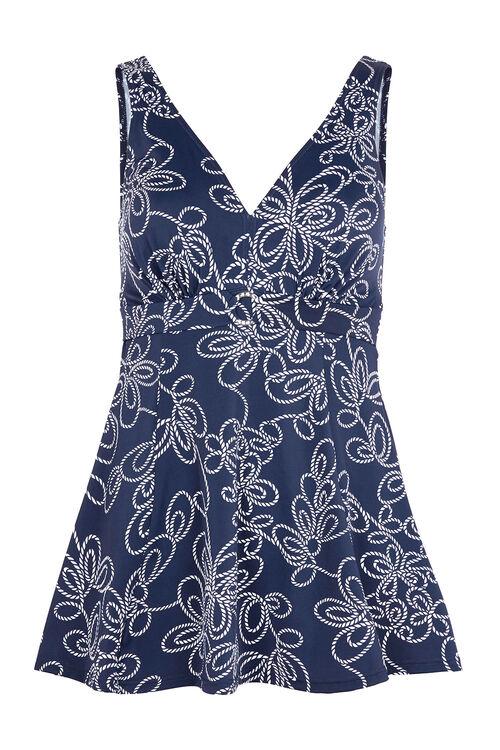 Rope Print Buckle Trim Swim Dress