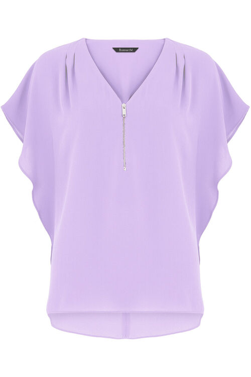 Plain Zip Front Blouse