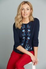 Floral Embroidered Sleeve Cardigan