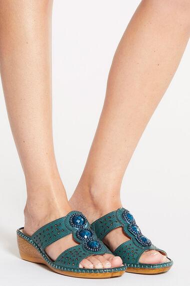 Cushion Walk Slip On Sandal with Decorative Stone Detail