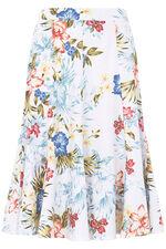 Printed Linen Blend Skirt