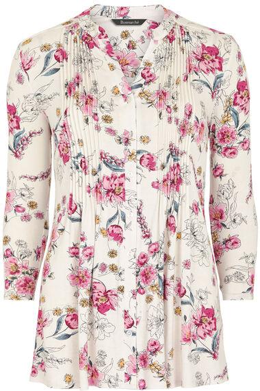 Leaf Print Pintuck Detail Jersey Top