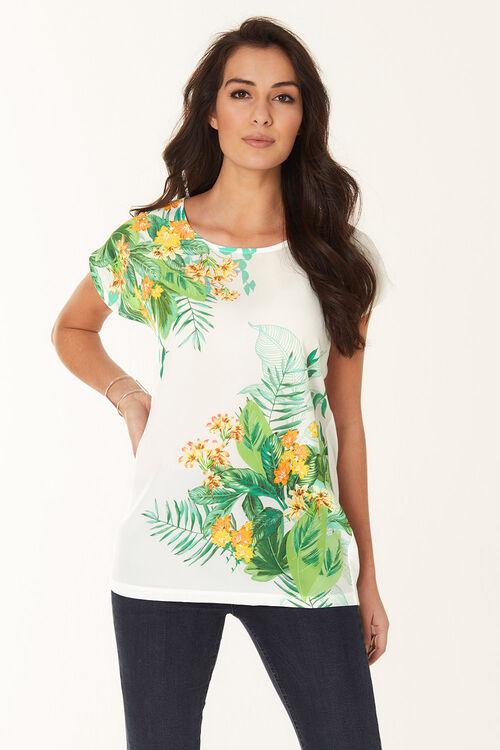 Tropical Print Woven Front T-Shirt