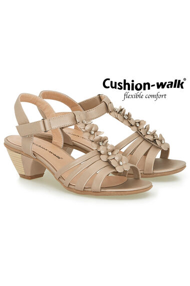Cushion Walk Touch Fasten Heeled 3D Floral Sandal