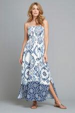 Tile Print Shirred Maxi Dress