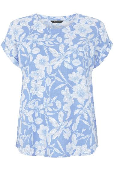 Linear Floral Linen Blend Shell Top