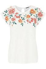 Bubble Print Floral Neck T-Shirt